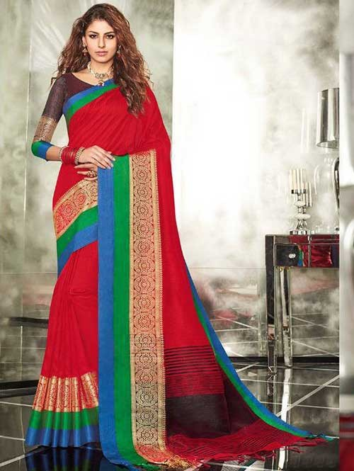 Red Colored Branded Weaving Silk Saree
