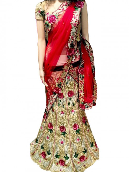 Red Colored Bridal Net Lehenga with Net Dupatta