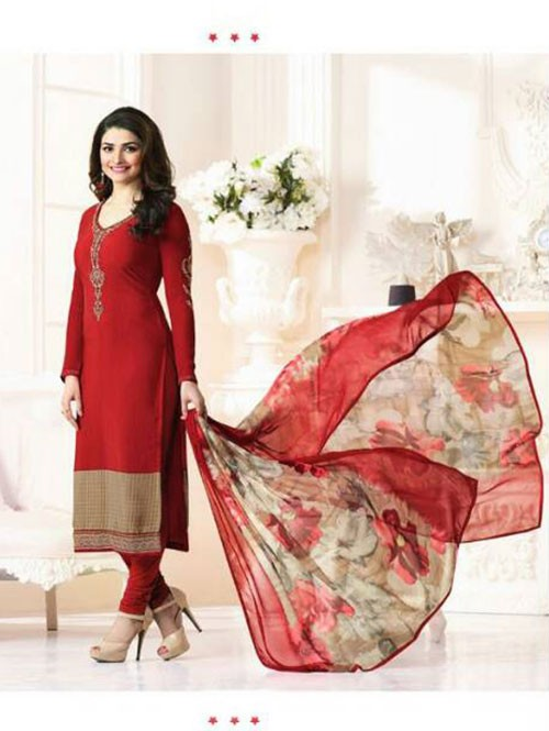 Red Colored Casual wear Beautiful Embroidered Crepe Suit