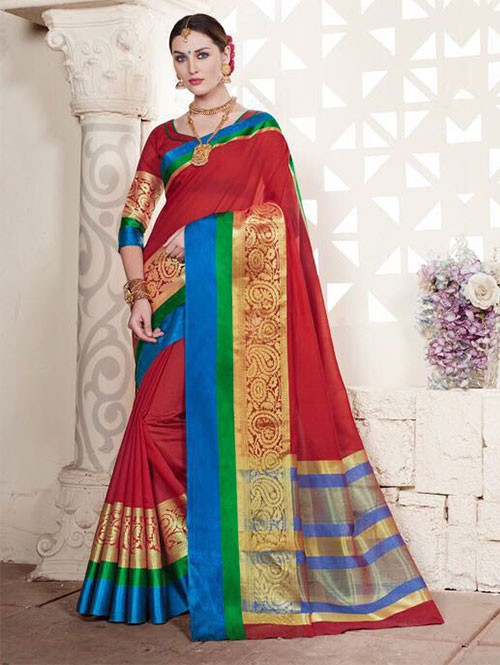 Red Colored Cotton Silk Saree