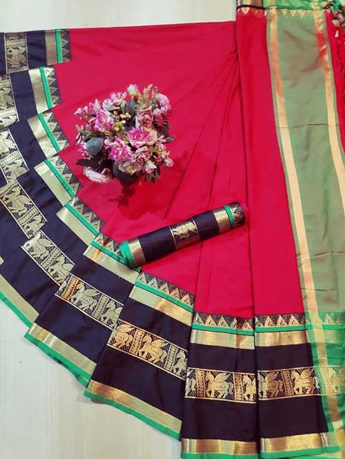 Red Colored Cotton Silk Saree - Horse