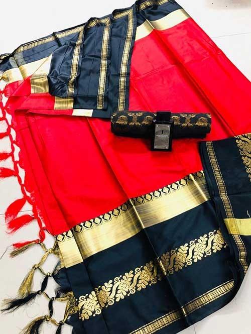 Red Colored Cotton Silk Saree - Payal
