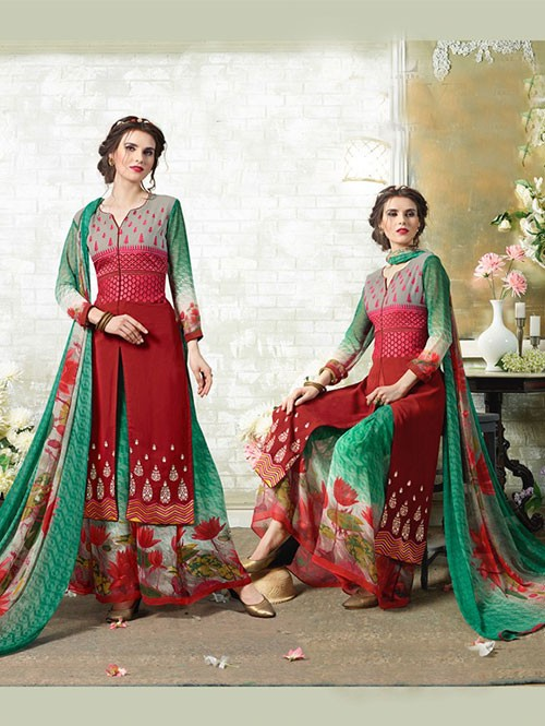 Red Colored Designer Suit With Beautiful Plazzo.