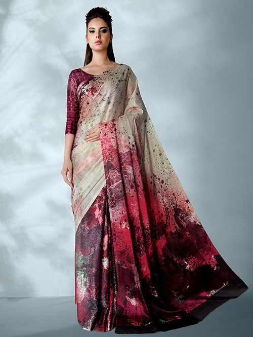 Red Colored Digital Printed Cotton Bladed Saree