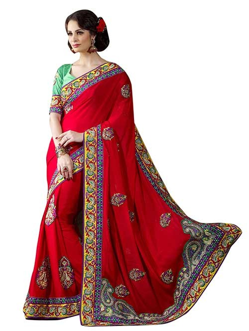 Red Colored Embroidered Pure Georgette Saree