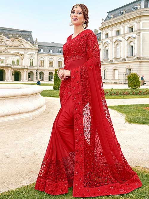 9d22800bb Red Colored Georgette and Nylon Net Designer Saree With Banarasi Silk  Blouse Online