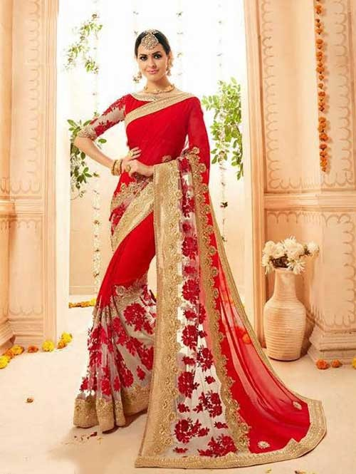 Red Colored Heavy Embroidered Beautiful Georgette and Net Saree