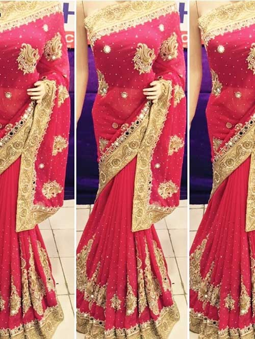 Red Colored Heavy Embroidered Georgette Saree With Beautiful Mirror-work and Stonework