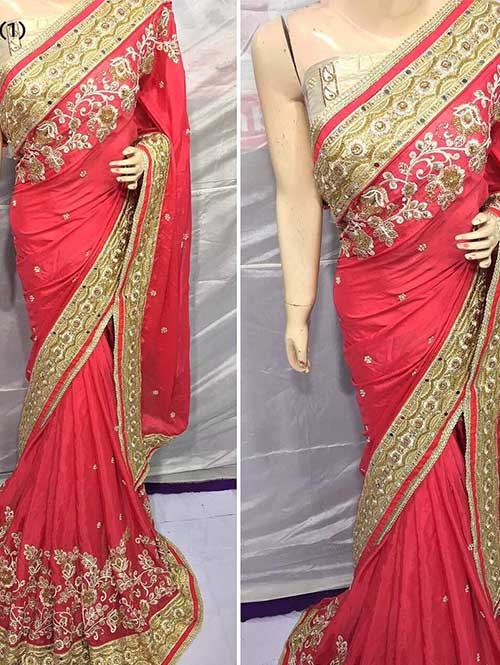 Red Colored Heavy Embroidered Pure Georgette Saree