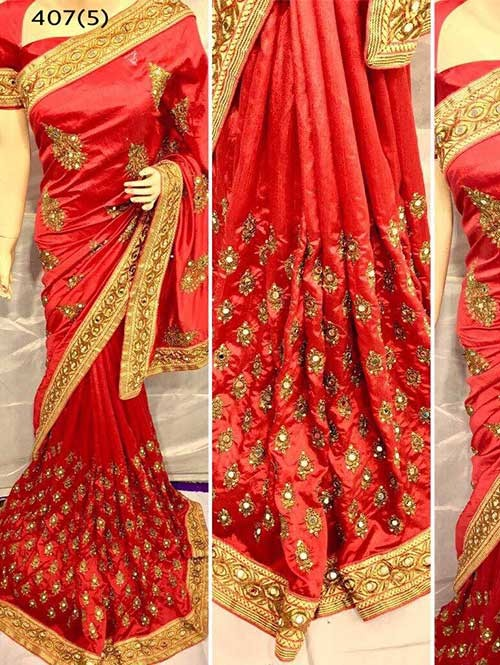 Red Colored Heavy Embroidered Pure silk Saree