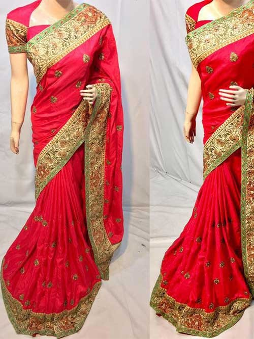 Red Colored Heavy Embroidered Silk Indian Traditional Wear Saree