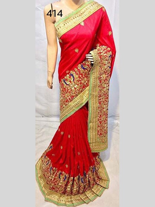 Red Colored Heavy Embroidered Soft Silk Saree