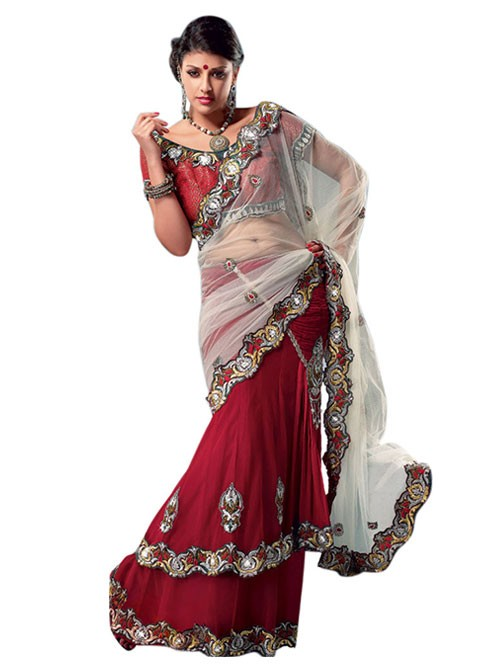 Red Colored Heavy Stone Work and Embroidered Fancy Net Lehenga With satin Inner