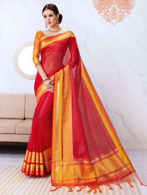 Red Colored Kota Silk Saree