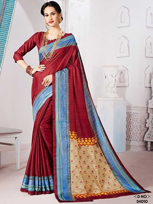 Red Colored Manipuri Silk Saree with Beautiful Embroidered on Pallu
