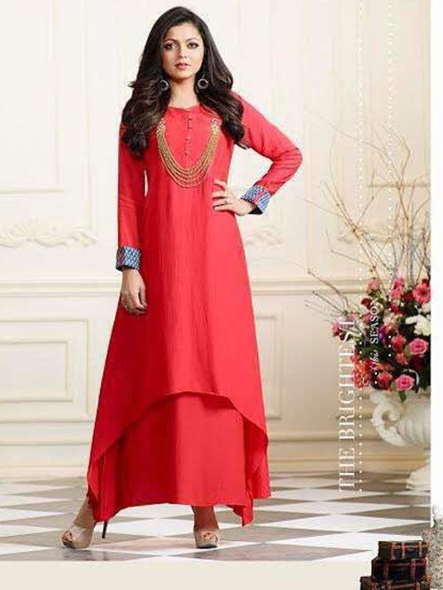 Red Colored Muslin Silk Embroidered Kurti