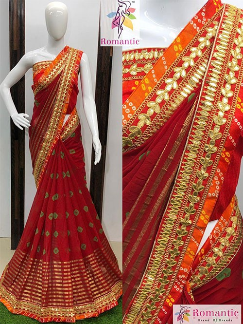 Red Colored Nazneen Silk Saree With Gotapatti Bandhani Border