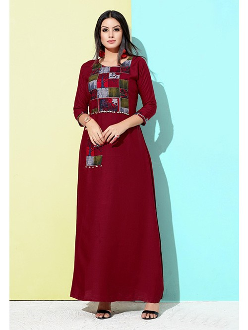 Red Colored Printed A-Line Cotton Kurti Online