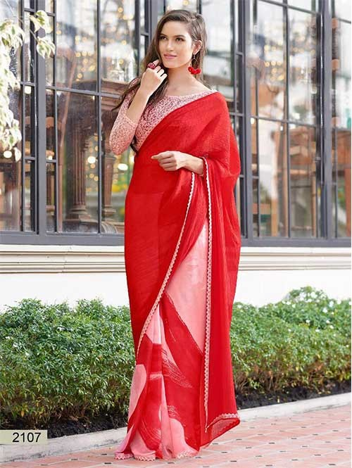 Red Colored chiffon and Faux Georgette Printed Saree With Beautiful Blouse