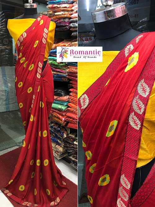 Red Colored Printed Moss Chiffon Saree With Beautiful Border