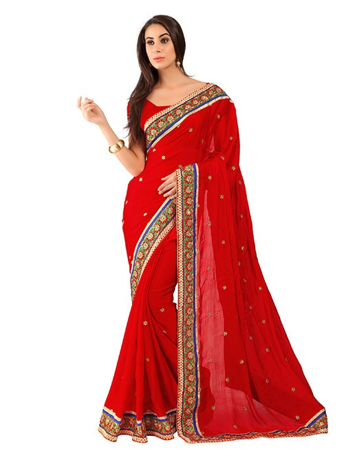 Red Colored Pure Chiffon Saree has Beautiful Embroidered Border