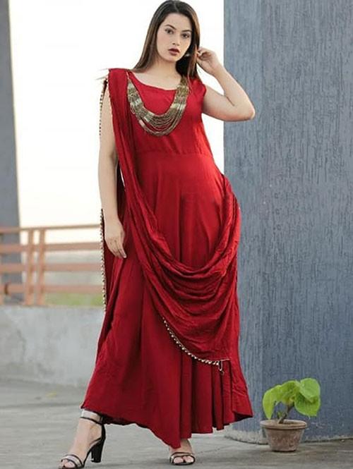 Red Colored Saree Drape Style Indo-Western Rayon Kurti