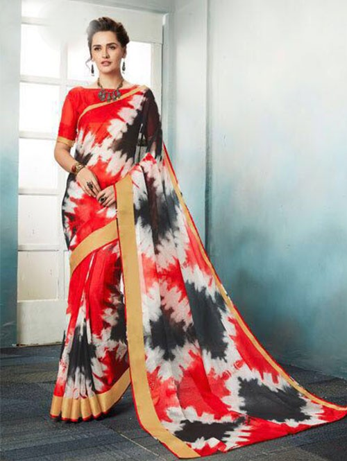 Red Colored Shibori Printed Kota Silk Saree