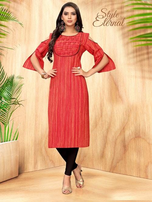 Red Colored Straight Handloom Cotton Kurti Online - 5 Star