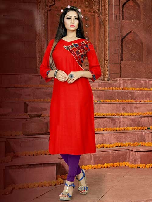 Red Colored Straight Rayon Print Kurti Online