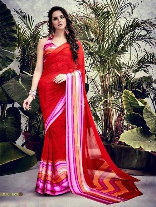 Red Colored weightless Satin Patta Printed Saree