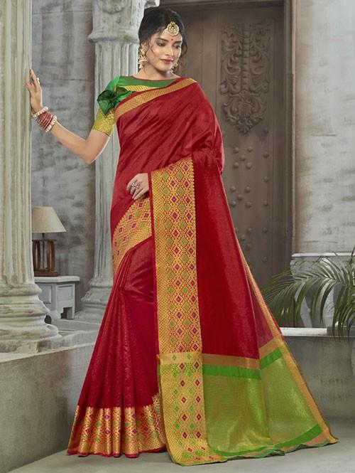 Red Colored Zari Chex Cotton Silk Fancy Saree