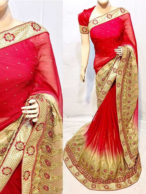 Red Color Beautiful Soft Chiffon Fabric Saree With Two Tone Effect Also Have Embroidery and Stone Work