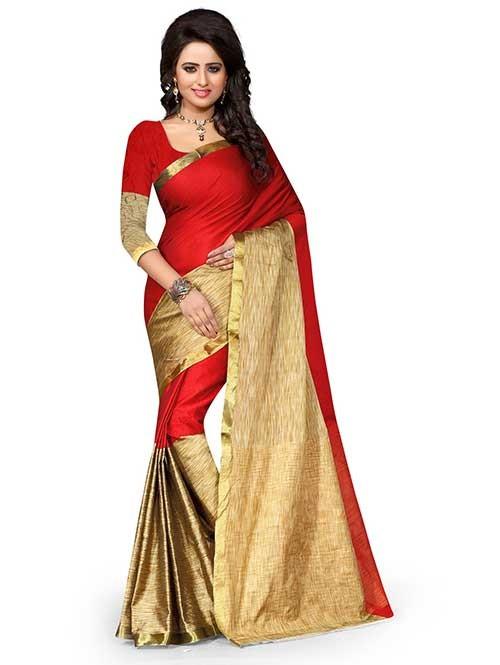 Beautiful Poly Cotton Saree With Beautiful Blouse-Rama