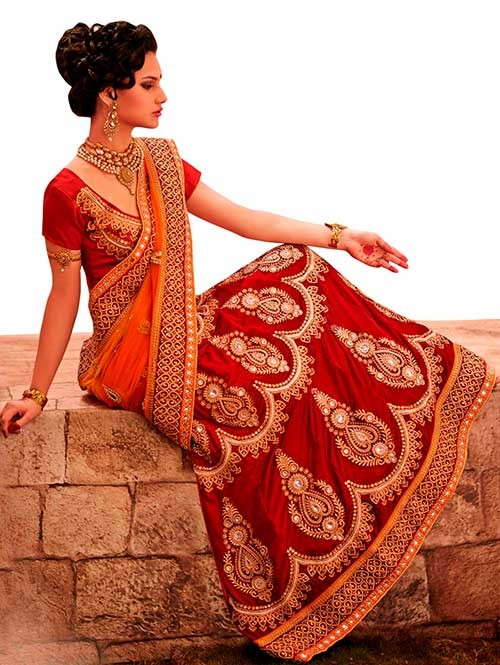 Red Colored Beautiful Embroidered Micro Velvet Lehenga