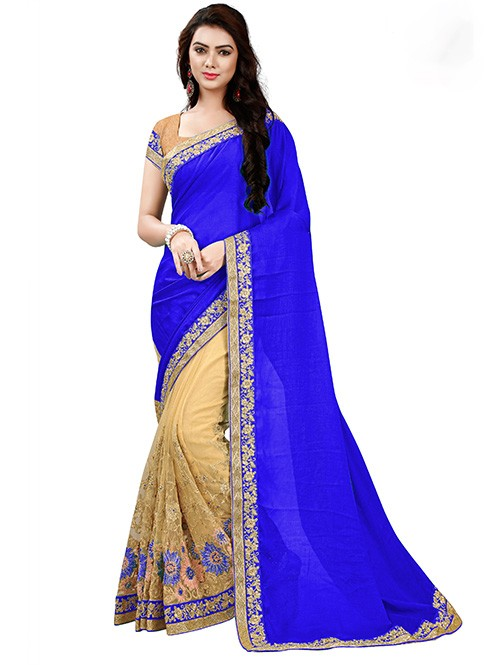 Royal Blue Color Beautiful Chiffon and Net saree with Blouse