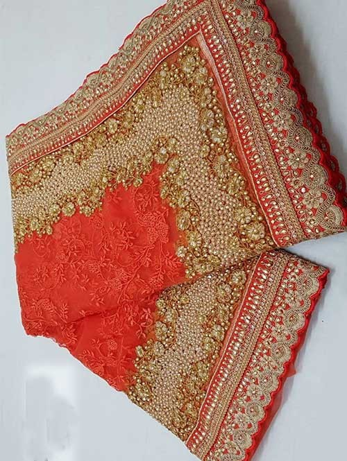 Rust Colored Beautiful Embroidered Net Saree With Dimond work and Pearl wo