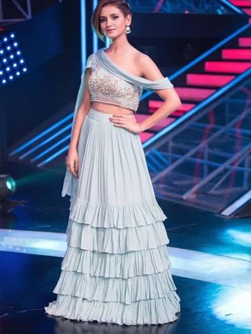 Sakti Mohan in Grey Colored Georgette Ruffle Lehenga With Beautiful Embroidered Blouse