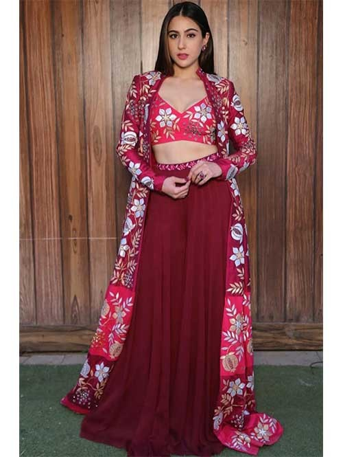 Sara Ali Khan In Maroon Colored Beautiful Palazzo Top Set With Beautiful Printed Koti.