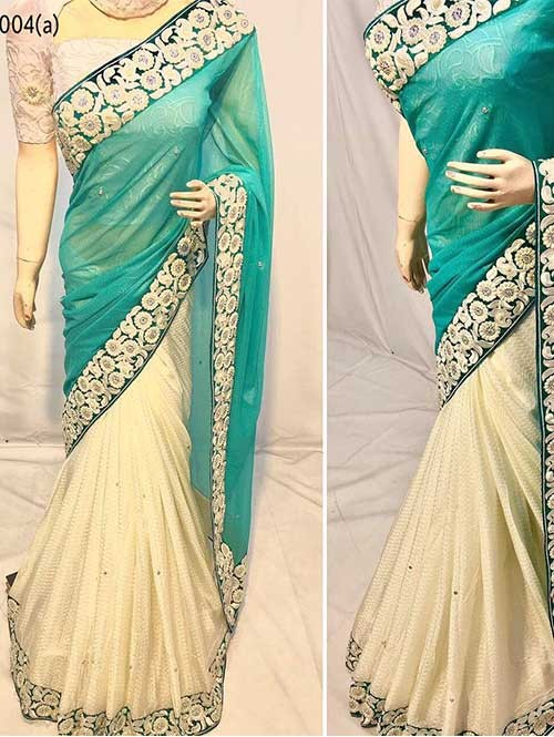 Sea Green Color Beautiful Embroidered Border Pure Crepe Silk Saree