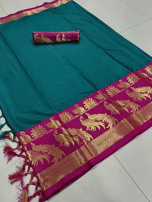 Sea Green Color Beautiful Weaving Cotton Silk Saree - Mahishmati