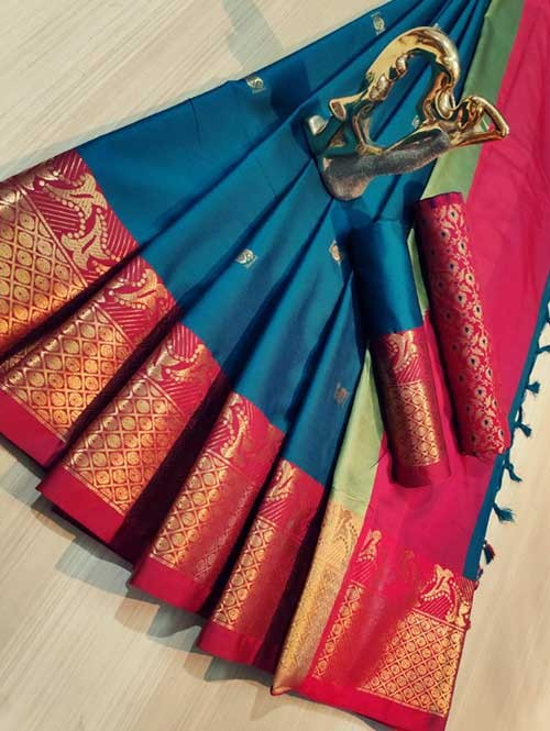Sea Green Color Beautiful Weaving Cotton Silk Saree - Mahiya & Ashra