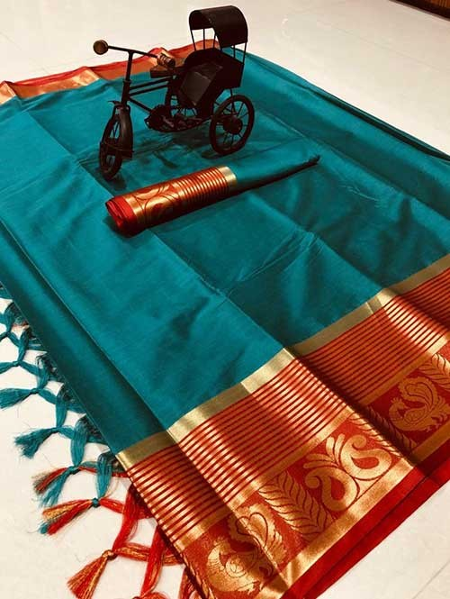 Sea Green Color Beautiful Weaving Cotton Silk Saree