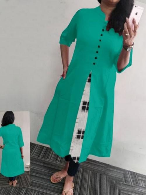 Sea Green Colored Beautiful A-line Heavy Flex Cotton Kurti