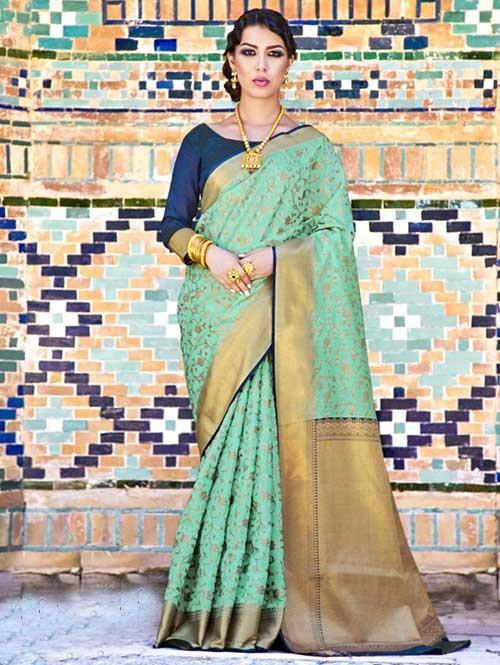Sea Green Colored Beautiful Branded Weaving Silk Saree - Krystal