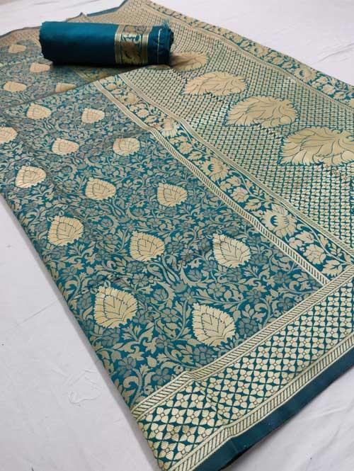 Sea Green Colored Beautiful Branded Weaving Silk Saree - Raag