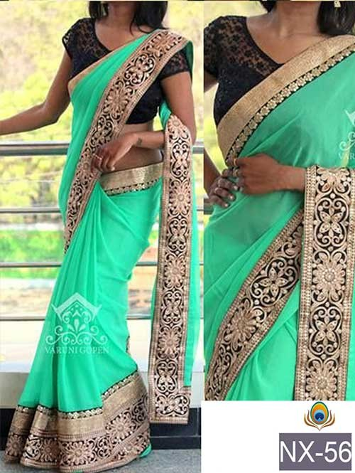 Sea Green Colored Beautiful Embroidered Border Georgette Saree