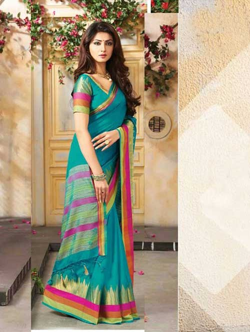 Sea Green Colored Beautiful Embroidered Cotton Saree With Matching Blouse
