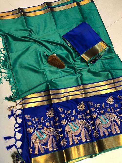 Sea Green Colored Beautiful Embroidered Cotton Silk Saree