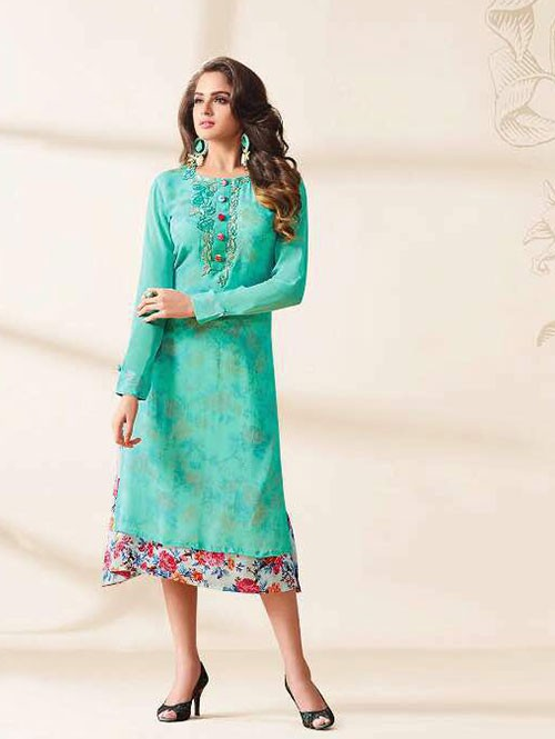Sea Green Colored Beautiful Embroidered Georgette Stylist Kurti.