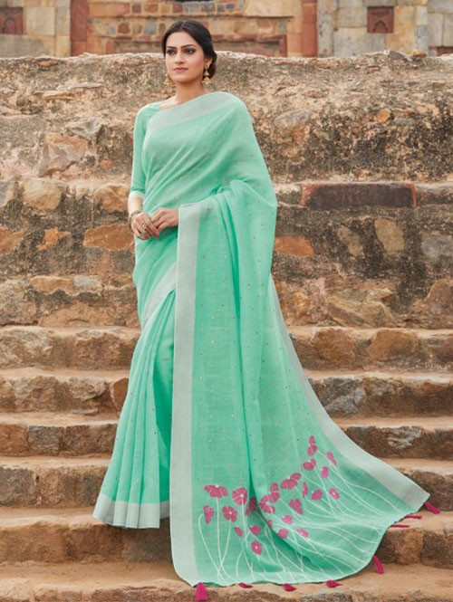 Sea Green Colored Beautiful Embroidered Linen Saree With Mirror Work -